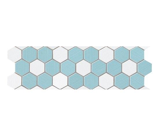 Visionary Esagono Azzurro Bianco Mosaico Listello* di Fap Ceramiche | Mosaici