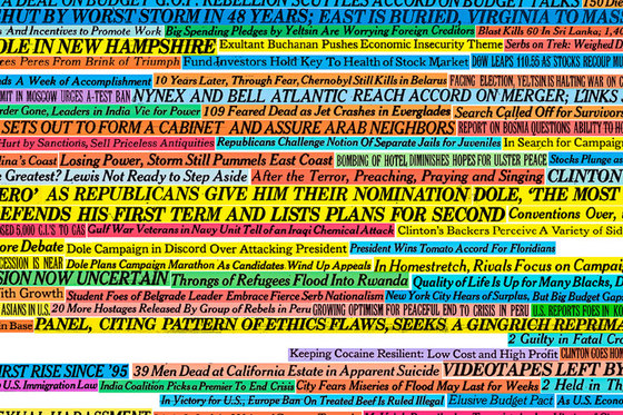 New York Times Headlines (1990-2005) 001 Unique von Maharam | Wandbeläge