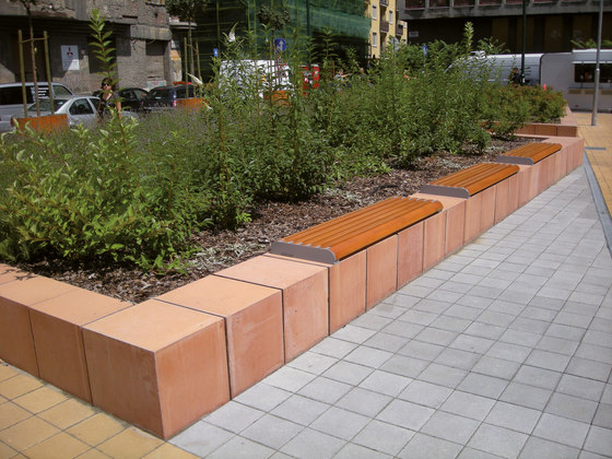 forma   Wall-mounted bench by mmcité   Exterior benches