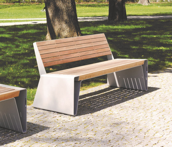 radium | Park bench with backrest by mmcité | Exterior benches