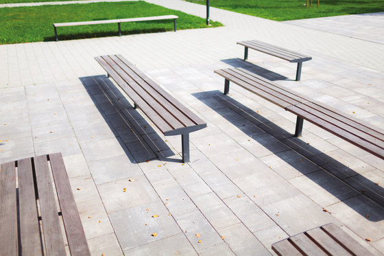 vera solo   Park bench on a central leg by mmcité   Exterior benches