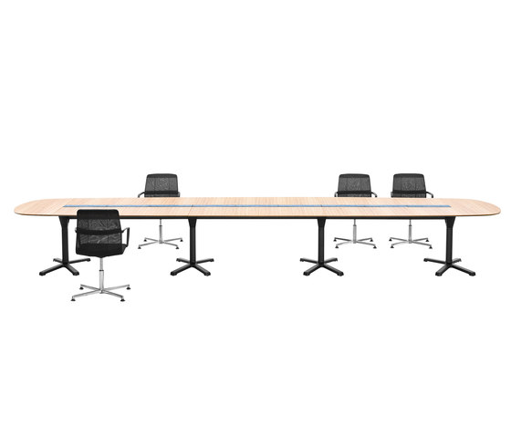 pulse conference table configuration with x-leg base by Wiesner-Hager | Multimedia conference tables