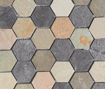 Anticato Irregular Hexa Mult Delhi by Porcelanosa | Natural stone mosaics