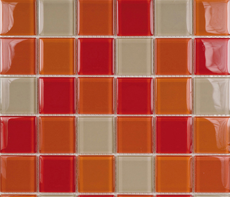 Glacier Mix Rojos 5x5 by Porcelanosa | Glass mosaics