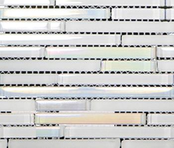 Metallic Glacier Mini Strip White by Porcelanosa | Glass mosaics
