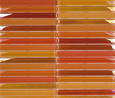 Metallic Glacier Mix Naranjas 1-5x14-8 de Porcelanosa | Mosaïques verre