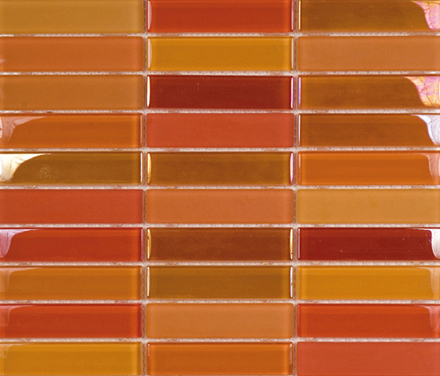 Metallic Glacier Mix Naranjas 2-3x9-8 by Porcelanosa | Glass mosaics