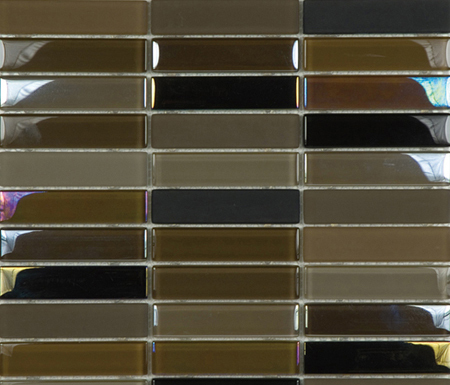 Metallic Glacier Mix Tobacco 2-3x9-8 by Porcelanosa | Glass mosaics