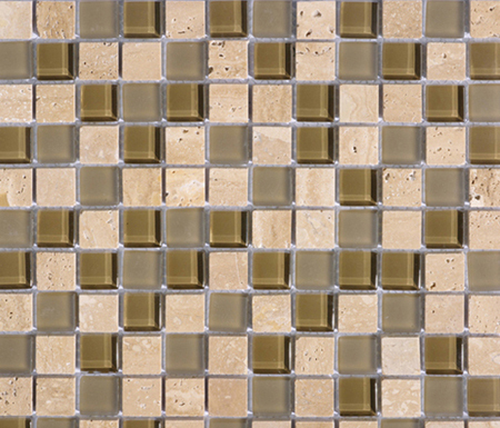 Noohn Stone Glass Mosaics Mix Travertino Tobacco by Porcelanosa | Glass mosaics