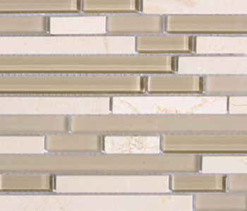 Noohn Stone Glass Mosaics Strip Mix Glacier Crema by Porcelanosa | Glass mosaics