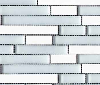 Noohn Stone Glass Mosaics Strip Mix Glacier Thassos de Porcelanosa | Mosaicos de vidrio