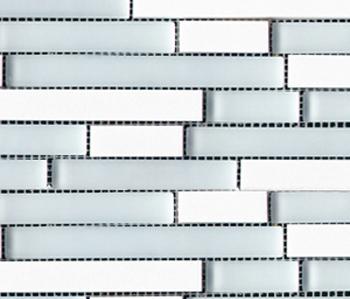 Noohn Stone Glass Mosaics Strip Mix Glacier Thassos by Porcelanosa | Glass mosaics