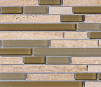 Noohn Stone Glass Mosaics Strip Mix Travertino Tobacco by Porcelanosa | Glass mosaics