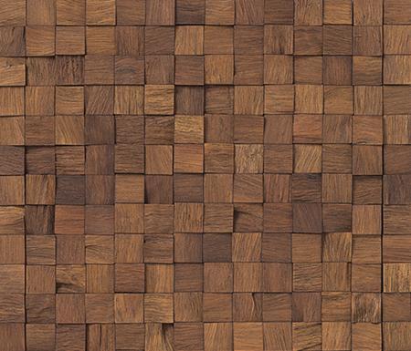 Recubrimiento pared madera teca mosaico exclusivo fachada for Mosaico madera pared