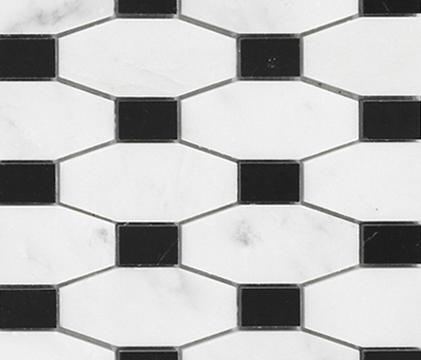 Victorian Chain Bco Marmara Negro Marquina di Porcelanosa | Mosaici