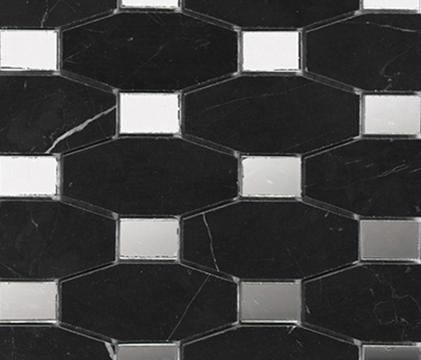 Victorian Chain Negro Marquina Mirror by Porcelanosa | Natural stone mosaics