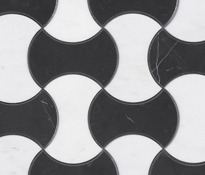 Victorian Mini Windmill Bco Thassos Negro Marquina by Porcelanosa | Natural stone mosaics