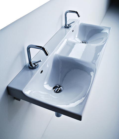 Buddy Washbasin 100 double sink by Kerasan | Wash basins