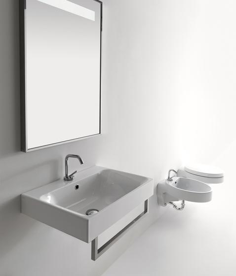 Cento Deep washbasin + towel holder by Kerasan | Vanity units