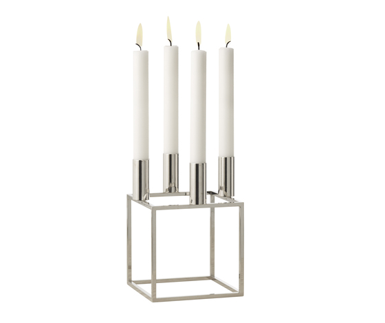 Kubus 4 Nickel by by Lassen | Candlesticks / Candleholder
