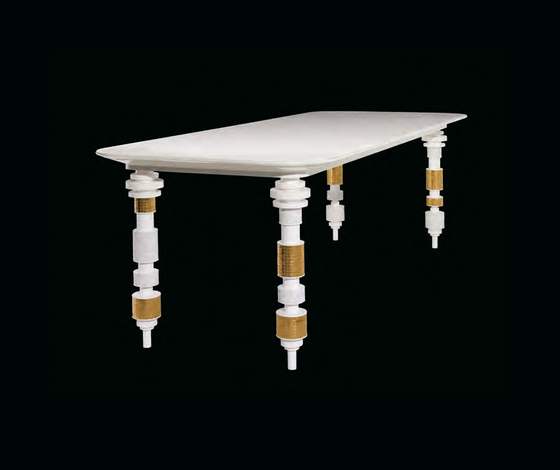 Engine white table by Bisazza | Dining tables