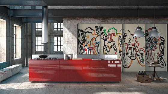 Artematica Vitrum Arte I Sandro Chia by Valcucine | Island kitchens