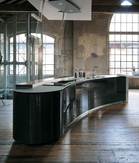 Artematica Curva | Glass by Valcucine | Island kitchens