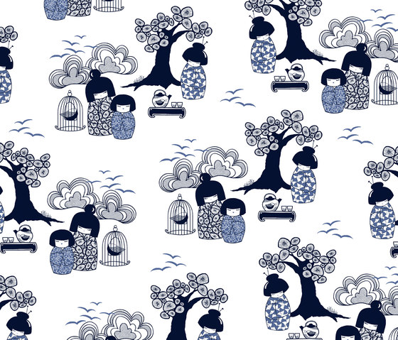 Kokeshi blue I white Wallpaper by BANTIE | Wall coverings / wallpapers
