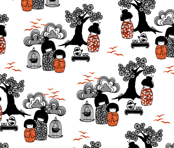 Kokeshi black I white I orange  Wallpaper von BANTIE | Wandbeläge / Tapeten