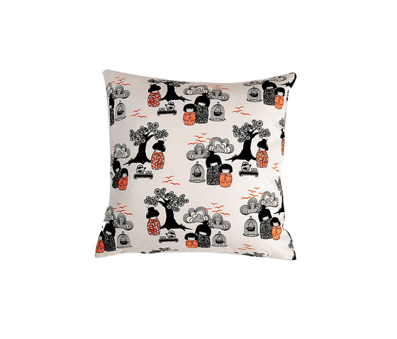 Kokeshi black I white I orange Cushion by BANTIE | Seat cushions