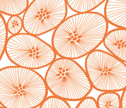 Korall white I orange by BANTIE | Curtain fabrics