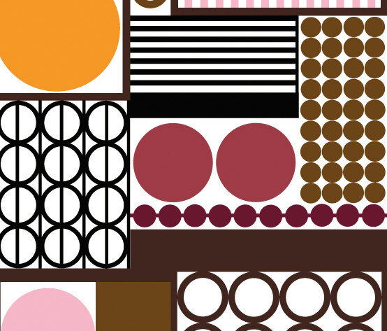 Palett brown I pink by BANTIE | Curtain fabrics