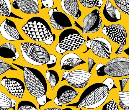 Paradis yellow by BANTIE | Curtain fabrics