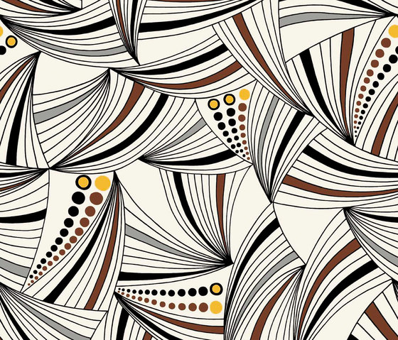 Sydney white I brown I yellow by BANTIE | Curtain fabrics