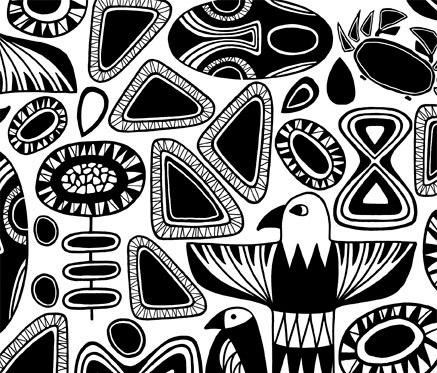 Totem black I white von BANTIE | Vorhangstoffe