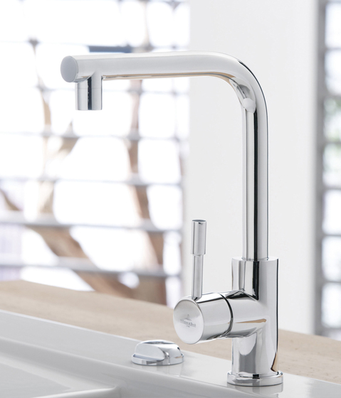 Modern Steel Single-lever mixer for sink by Villeroy & Boch | Kitchen taps