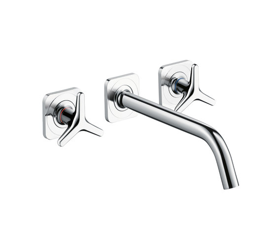 AXOR Citterio M 3-Hole Basin Mixer for concealed installation with star handles, escutcheons and spout 226mm DN15, wall mounting by AXOR | Wash-basin taps