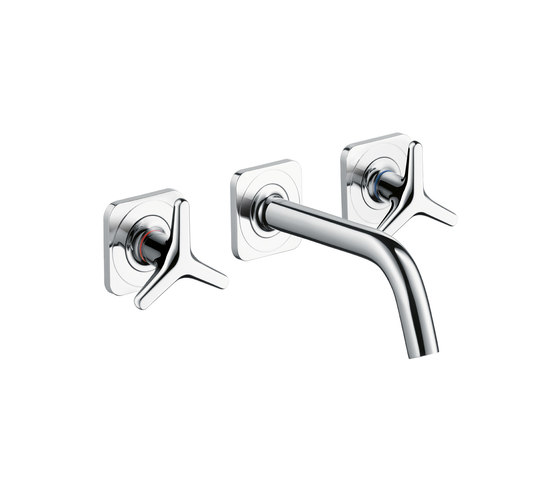 AXOR Citterio M 3-Hole Basin Mixer for concealed installation with star handles, escutcheons and spout 166mm DN15 wall mounting by AXOR | Wash-basin taps