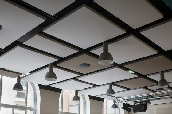 Stereo acoustic panels suspended by Texaa® | Acoustic ceiling systems