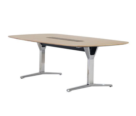 pulse Konferenztisch, Bootsform mit T-Fuß von Wiesner-Hager | Objekttische