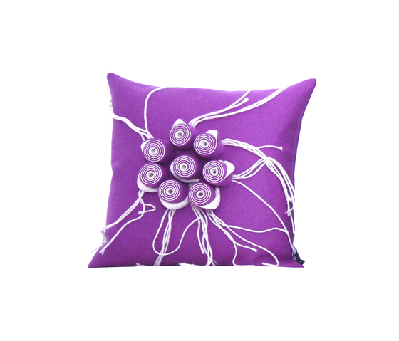 New Anais cushion ecru viola by Poemo Design | Cushions