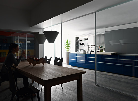 New Logica System Invitrum blu by Valcucine | Fitted kitchens