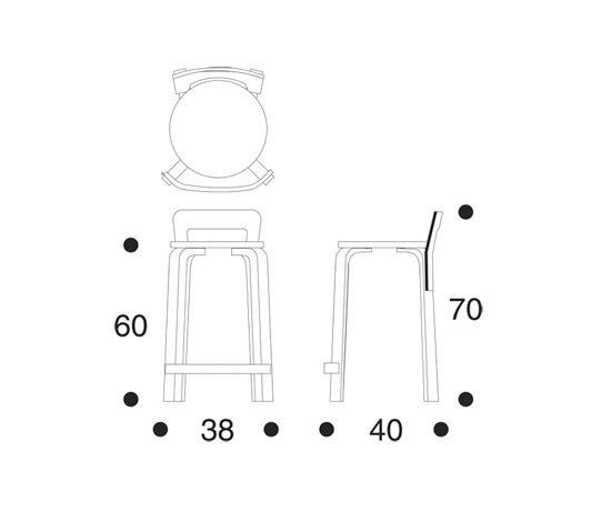 Sedie alte sedute high chair k65 artek alvar aalto for Sedute dwg