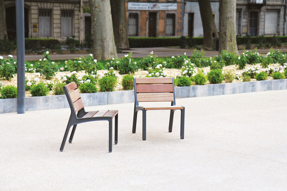 miela | Park bench with backrest by mmcité | Exterior chairs