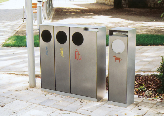 crystal | Triple litter bin for sorted waste by mmcité | Exterior bins
