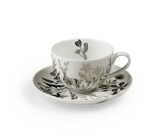 "TABLESTORIES PLATINUM coffee & tea cup with saucer ""Deer Flowers"" by Authentics 