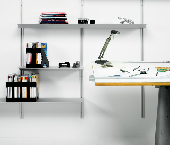 Exilis Wall-Mounted System by nonuform | Library shelving systems