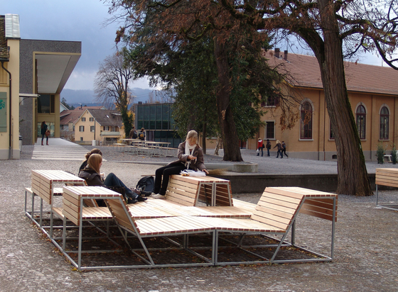 Landscape bench with backrest Larch by BURRI | Exterior benches