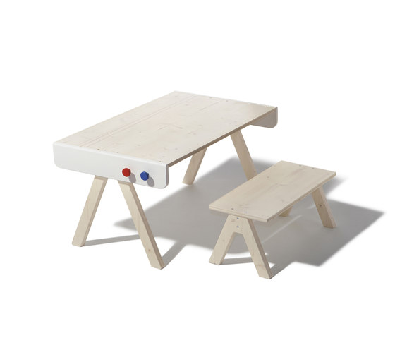 Famille Garage table and bench by Richard Lampert | Children's area