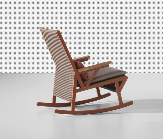 Vieques rocking chair teak armrests by KETTAL | Garden armchairs